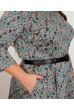 Сіре оригінальне плаття міді з бірюзовим принтом