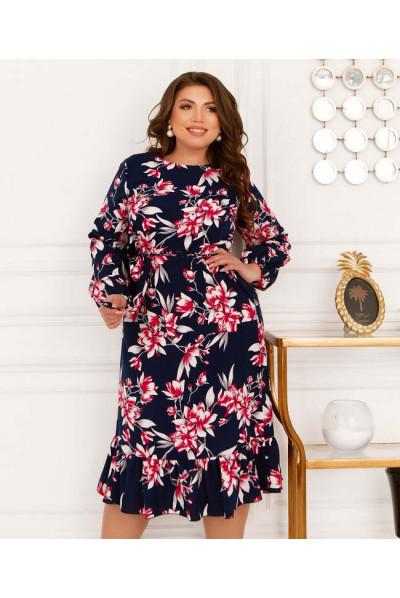 Темно-синє привабливе жіноче плаття з кишенями