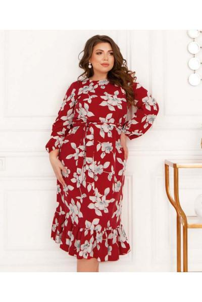 Червоне квіткове плаття для жінок з апетитними формами