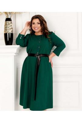 Зелене комфортне плаття міді для повних жінок