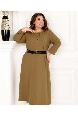 Бежеве базове оригінальне плаття з поясом