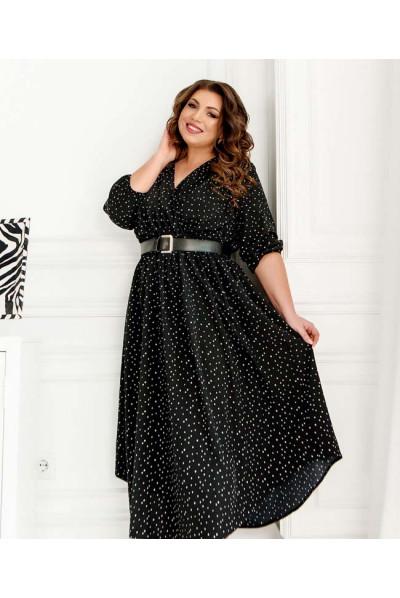 Чорне принтоване локанічне плаття з поясом