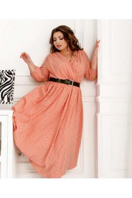 Персикове романтичне жіночне плаття в горох для повних жінок
