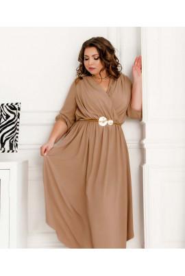 Елегантне однотонне плаття кольору мокко