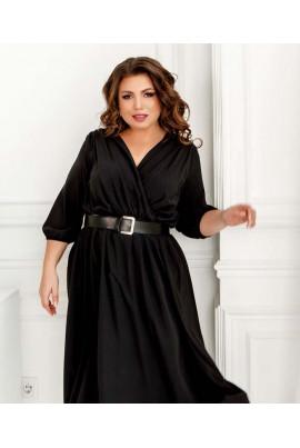Чорне ефектне плаття з поясом для жінок з пишними формами
