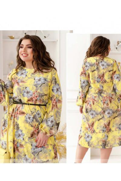 Жовта промениста грайлива сукня з ніжним принтом