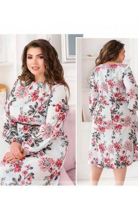 Рожева весняна витончена сукня міді для повних жінок