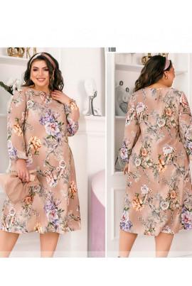 Пудрова романтична сукня міді з флористичним принтом