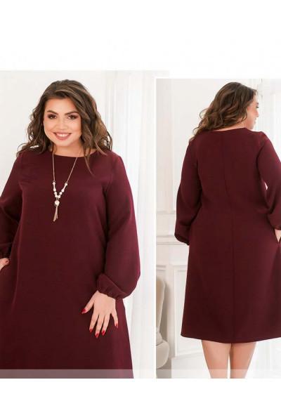Бордова приваблива сукня міді великих розмірів