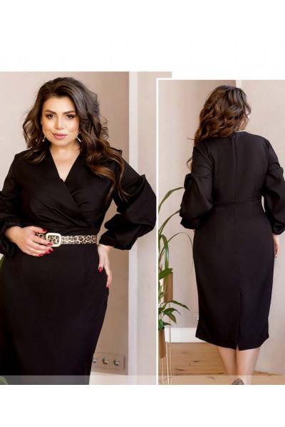 Чорна актуальна вишукана сукня міді