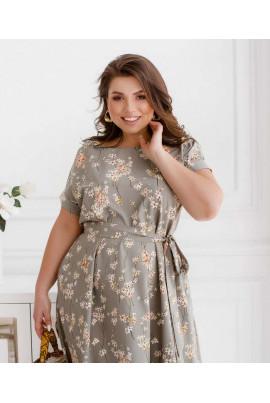 Сіре розкішне літнє плаття для жінок з пишними формами