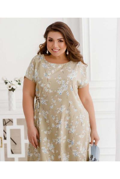 Бежева оригінальна дивовижна сукня великих розмірів