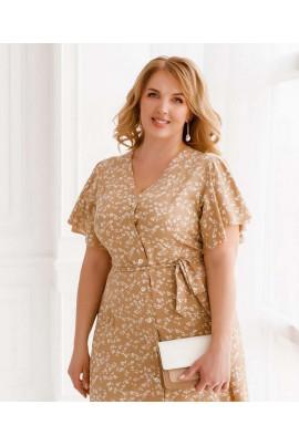 Бежева універсальна сукня для жінок з пишними формами