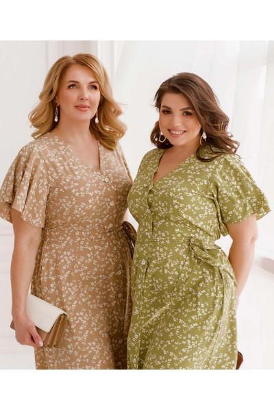 Оливкове зачаровуюче плаття на гудзиках