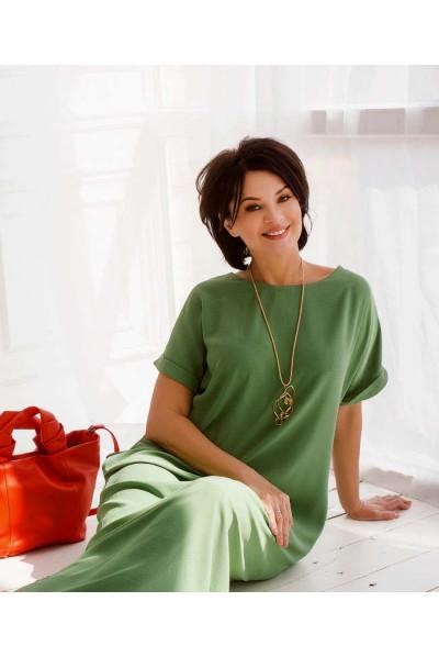 Жіноча оригинільна сукня максі кольору хакі