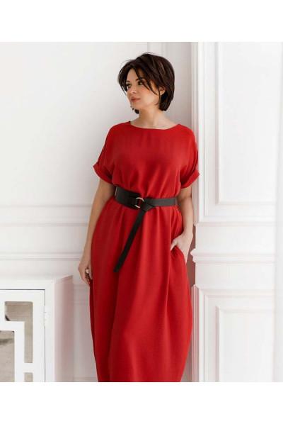 Червоне мінімалістичне плаття максі з кишенями