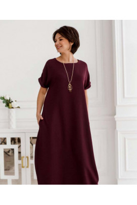 Бордова довга літня сукня з прикрасою