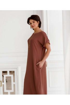 Рожеве витончене довге плаття для жінок з апетитними формами