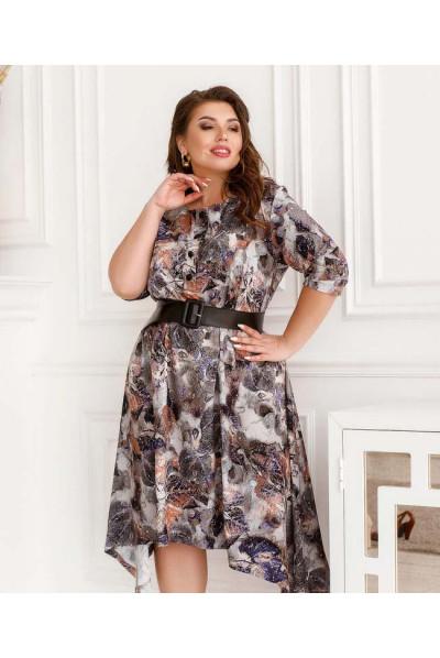 Бузкове оригінальне плаття з принтом для повних жінок