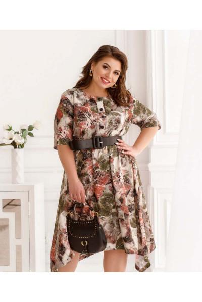 Принтоване жіноче плаття кольору хакі