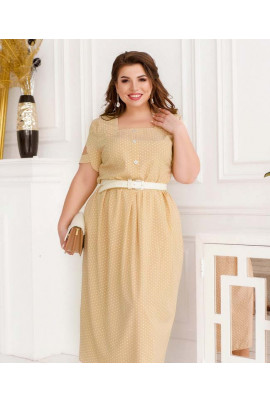 Бежева легка сучасна сукня в дрібний горох