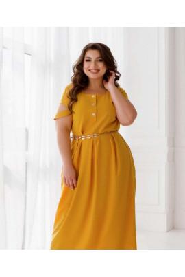 Гірчичне повсякденне легке плаття для повних жінок