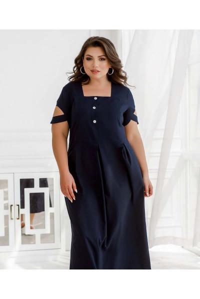 Синє привабливе плаття міді з декоративними гудзиками