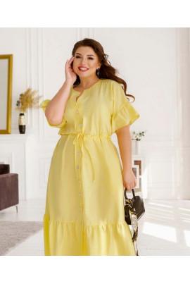 Жовта промениста сукня міді для жінок з апетитними формами