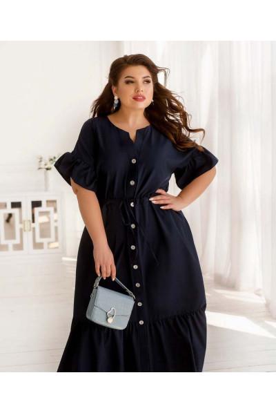 Синя лаконічна стильна сукня для повних жінок