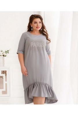 Сіре привабливе універсальне плаття зі стразами
