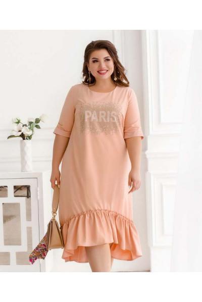 Персикове романтичне плаття міді з оборкою