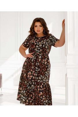 Чорна універсальна яскрава сукня міді з флористичним принтом