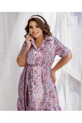 Бузкове елегантне квіткове плаття для жінок з апетитними формами