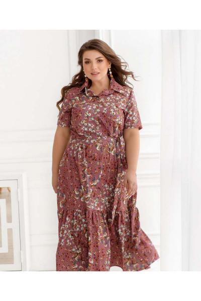 Пудрове ефектне плаття з оборкою для повних жінок