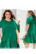 Зелене вільне плаття з льону