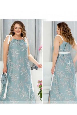 Блакитна оригінальна довга сукня для повних жінок