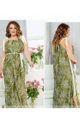 Оливкова шовкова довга сукня з лампасами