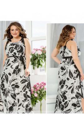 Сіра витончена принтована сукня великих розмірів