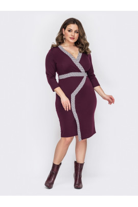 Бордове силуетне плаття великих розмірів