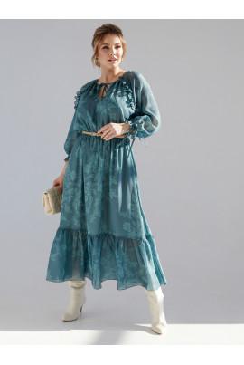Зелене легке принтоване плаття для жінок з пишними формами