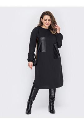 Чорне повсякденнне жіноче плаття для повних жінок