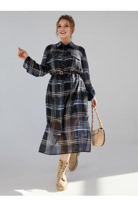 Чорна клетчата сукня-сорочка з кишенями
