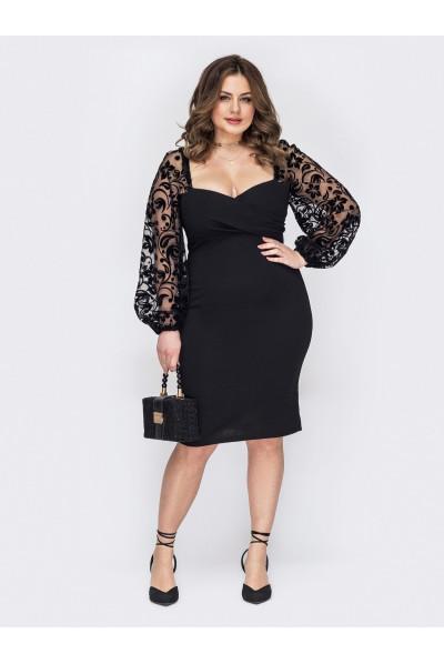 Чорне ошатне вечірнє плаття для жінок з апетитними формами