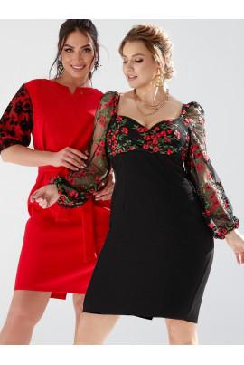 Чорне розкішне романтичне плаття з контрастною вишивкою