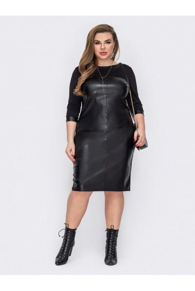 Чорне стильне облягаюче плаття міді великих розмірів