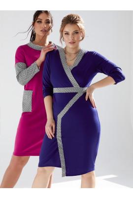 Темно-синє оригінальне силуетне плаття