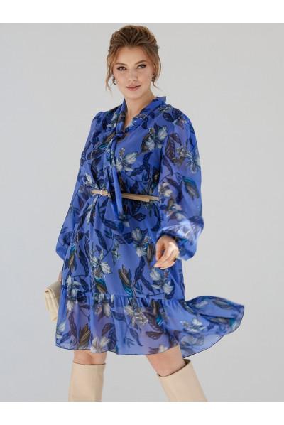 Синє квіткове плаття-трапеція великих розмірів