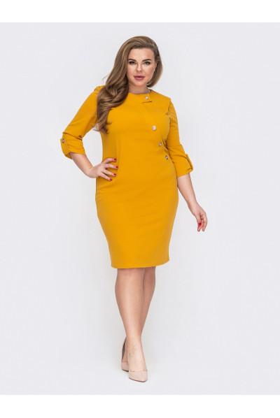 Жовте жіноче плаття в класичному стилі для повних жінок