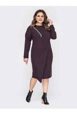 Коричневе лаконічне асиметричне плаття міді