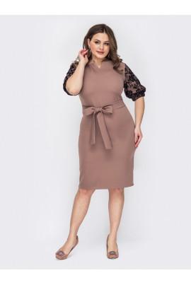 Пудрове елегантне жіноче плаття міді для повних жінок